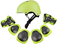 RuiyiF 7Pcs Sports Protective Gear for Kids, Elbow Pads Knee Pads with Wrist Guard and Helmet for Multi Sports
