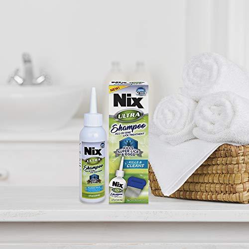 NIX Ultra Shampoo Lice Treatment | Kills Super Lice & Eggs | Includes Lice Removal Comb | 4 Fluid Ounce