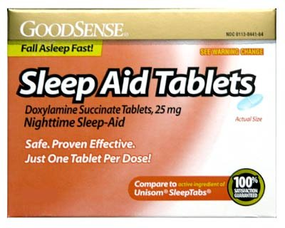 Sleep Aid Tablets, Comparable to the active ingredients in Unisom Fall asleep fast- 64 Tablets #6340 by Good Sense
