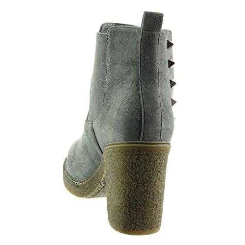 Da Angkorly Stivaletti Blocco Pelliccia Borchiati Alto Soletta Boots Di Cm 9 A Cavalier Tacco Foderato Chelsea Donna Moda Elastico Scarponcini Grigio Scarpe 55rAng
