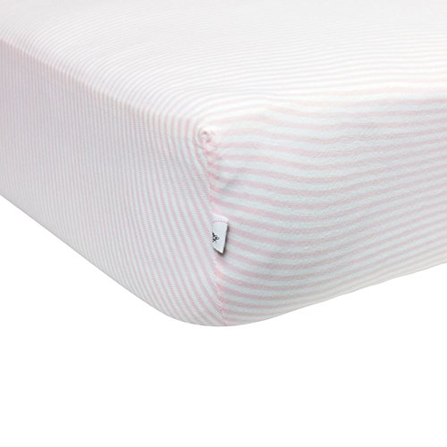 Burt's Bees Baby – Bee Essentials Stripe Crib Sheet, 100% Organic Crib Sheet for Standard Crib and Toddler Mattresses (Blossom)