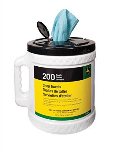 John Deere 200 Count Shop Towels in Bucket Container W/Dispensing Bracket (John Deere Shop Towels)
