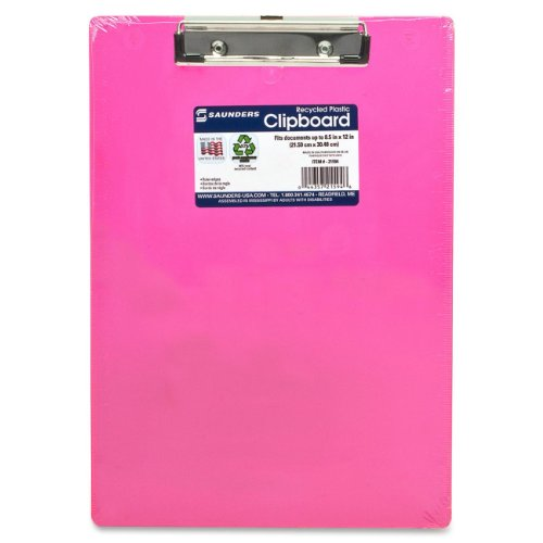 Saunders Plastic Clipboard with Low Profile Clip, Neon Pink, Letter Size, 8.5 inch x 12 inch, 1 Clipboard (21594)