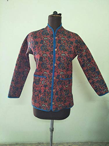 (SNS Creations Brown Indian Cotton Quilted Coat Reversible Hand Block Printed Women Jacket)