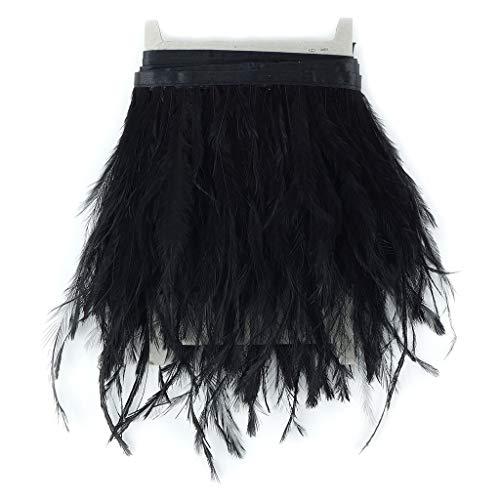 Ostrich Emu Feather Fringe Trim - 1 yd Black Ostrich Feather Trim Craft Supplies -