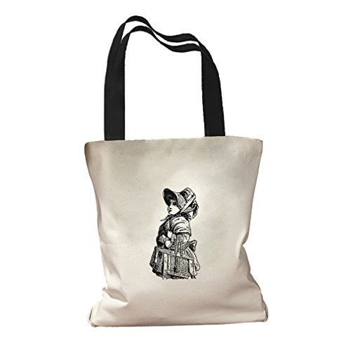 Going To Market Vintage Look Canvas Colored Handles Tote Bag - ()