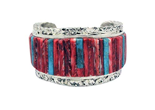 (Clinton Pete, Bracelet, Inlay, Turquoise, Red Spiny Oyster, Navajo Made, 6.5)