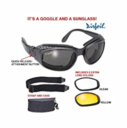Airfoil Black Convertible Goggle And Sunglass With 3 Removable Polycarbonate Le - One Size