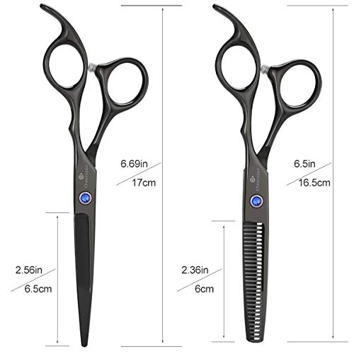 Cheersoon Hair Cutting Scissors Shears Set Sharp Haircut Scissors Professional Thinning Shears Grooming Kit Stainless Steel Hair Cutting Shears for Women Men Adults Kids Children Barber Salon (Black)