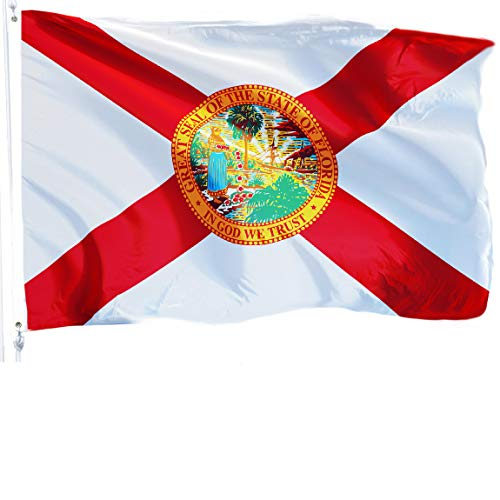 - G128 - Florida Flag 3x5 ft Printed Flag 2 Brass Grommets Quality Polyester Flag Indoor/Outdoor