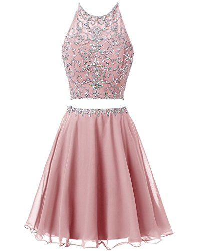 Short Homecoming Anlin Piece Two Dress Blush Women's Beading Skirt Halter Chiffon wIPUO