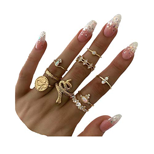 CSIYAN 9-15 Pieces Knuckle Stackable Rings Set,Boho Vintage Crystal Punk Snake Stacking Midi Finger Rings Comfort Fit Size for Women Girls