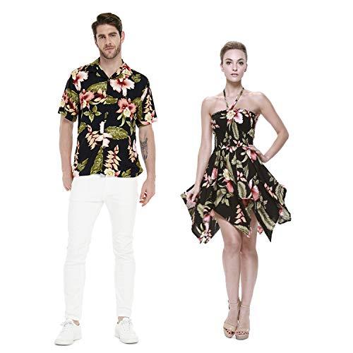 Couple Matching Hawaiian Luau Aloha Shirt Gypsy Dress in Black Rafelsia L -