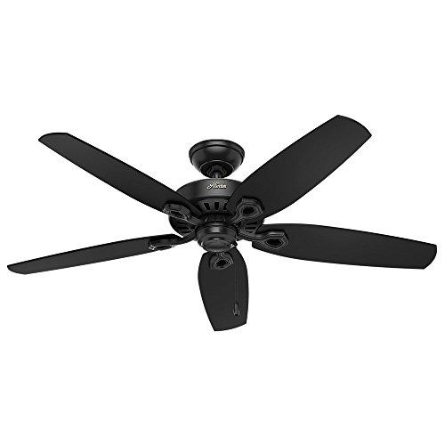 Hunter 52 in. Outdoor Matte Ceiling Fan with 5 Matte Black Fan Blades (Certified Refurbished)