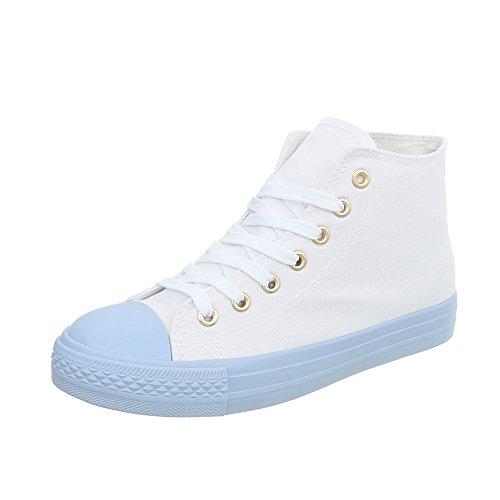 Blau Mujer Ital Cerrado Design 6335 Weiß n7YqAC
