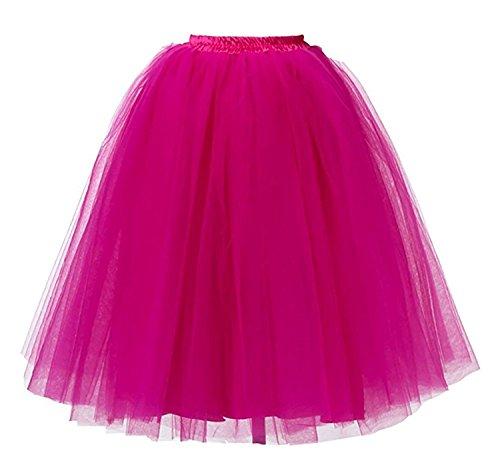 [Lamgo Women Layered Tutus Tulle Midi Skirts Underskirts Petticoats for Photoshoot Party Costume Event Dark Fuschia] (Plus Size Ballerina Costumes)