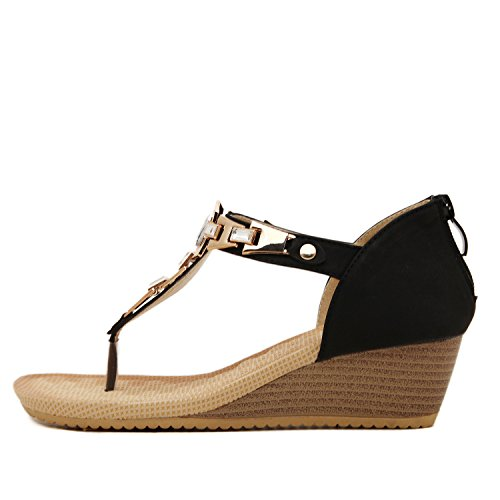 femmes Sandal Noir de cheville String sangle dqq Wedge d8SZw8q