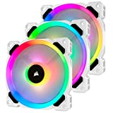 Corsair LL Series, LL120 RGB, 120mm RGB LED Fan, Triple Pack with Lighting Node PRO- White