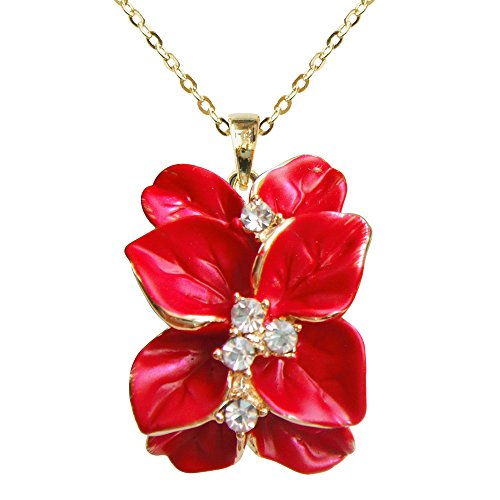 Navachi 18k Gold Plated Clear Crystal Red Enamel Leaves Flower Az6075p Pendant Necklace 16
