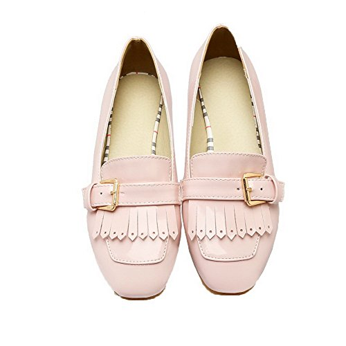 Pumps Women's Leather Shoes Patent Toe Closed Square Pink Odomolor Fringed f1qw044