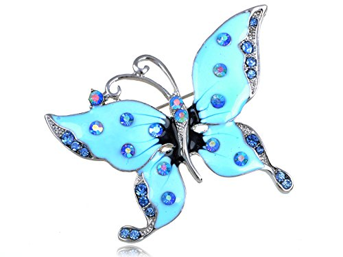 Alilang Womens Silvery Tone Sapphire Blue Colored Rhinestones Light Blue Butterfly Brooch Pin (Colored Rhinestone Costume Jewelry)