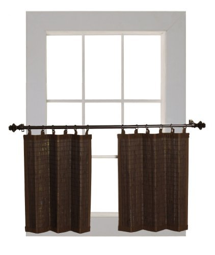 Bamboo Ring Top Curtain BRP07 2-Piece 48-Inch L x 24-Inch H Tier set Colonia...