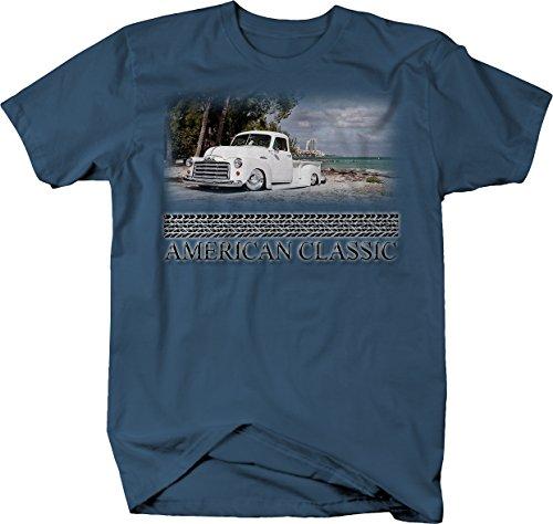 American Classic - GMC 1950's Pickup Truck Custom Hotrod Beach Tshirt - Large Denim Blue