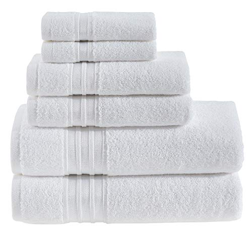 (Hammam Linen Luxury White Bath Towel Set - Combed Cotton Hotel Quality Absorbent- 6 Pieces Towel Set - 100% Cotton Towels - 2 Large Bath Towels 27x54, 2 Hand Towels 16x28, 2 Wash Cloths 12x12)