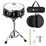 Vangoa Snare Drum Set, 14 Inch, 10 Lugs, Wooden Shell with Case, Practice Pad, Drum Stand, Drum Stand Carry Bag, Sticks, Tuning Key, Strap