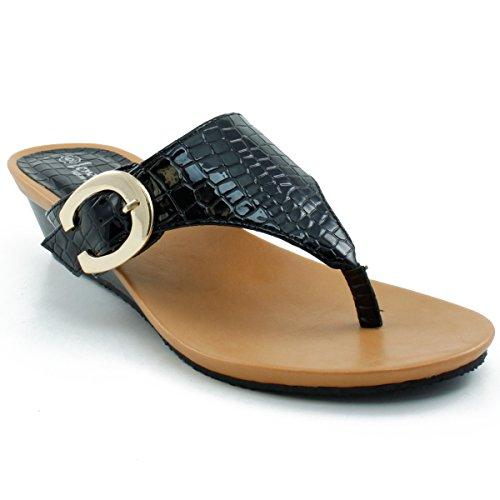 LenaLuisa Banner-50 Snakeskin Thong Sandal, Black (Snakeskin Thong Sandals)