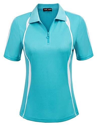 (JACK SMITH Women's Sport Wear Zipup Polo Short Sleeve Shirt(L,Sky Blue))