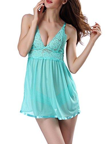 Oliveya Women V-Neck Transparent Lace Sexy Lingerie Underwear Sleepwear Green M