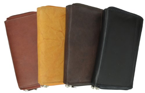 Marshal Wallet Unisex Leather Double Zippered Checkbook Cover Wallet (Brown)