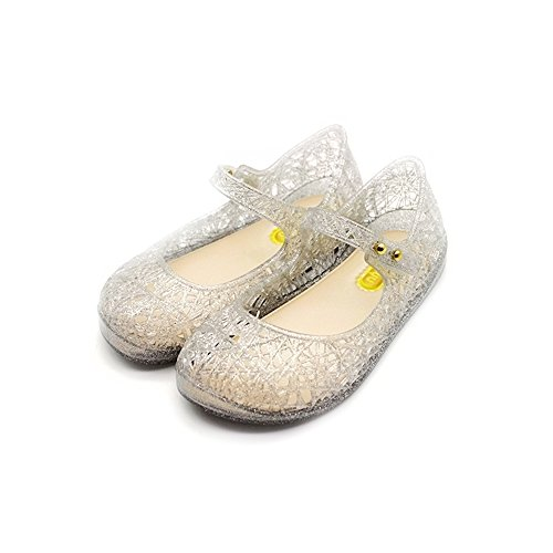 TANDEFLY Baby Girls Mary Jane Flat Jelly Shoes Glitter Nest Lines Kid