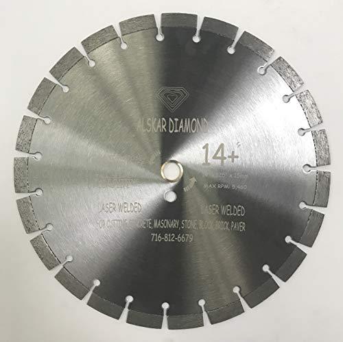 ALSKAR DIAMOND ADTSS 14 inch 15mm Segmented Dry or Wet Cutting Laser Welded Segmented Diamond Blades for Concrete Stone Brick Masonry (TSS14