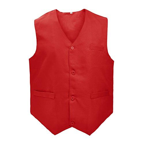 - TOPTIE Waiter Uniform Unisex Vest for Supermarket Clerk & Volunteer, RED