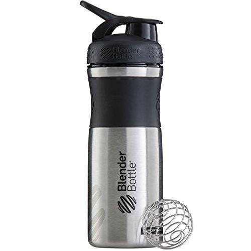(BlenderBottle SportMixer Stainless Steel Shaker Bottle, 28-ounce, Black/Black)