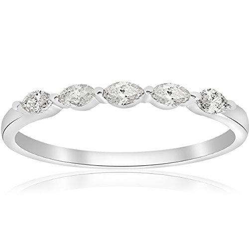 5 Stone Diamond Wedding Band - 8