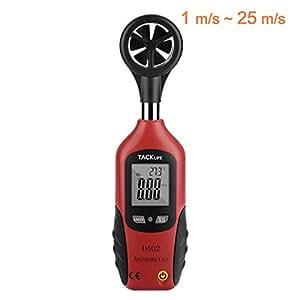 Anemómetro, Termómetro Tacklife DA02 Medidor de Velocidad de Aire (1 m/s ~ 25m/s), Medidor de Tempetratura (0 ℃ ~ 50 ℃/32℉ ~ 122 ℉), Pantalla LCD, Alta Precisión, Batería Incluida