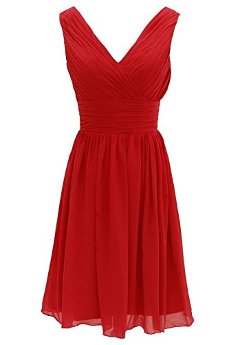 Red Wedding Kleid Party Minze Fanciest V Neck Kurz Brautjungfernkleideres Women' wBwxpSqzY