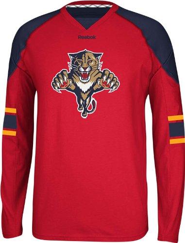 NHL Carolina Panthers Men's Edge Long Sleeve Jersey Tee, Red, X-Large