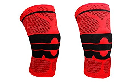 Magnetic Gel Padded Knee Brace with Maximum Knee Stabilizing Support for Athletes and Every Day Use - RED (Red - 1 Pair (2 Braces)) by One & Only USA (Walmart Beactive Brace)