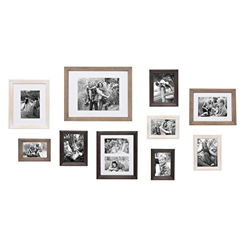 (Kate and Laurel Bordeaux 10 Piece Wood Frame Set White Wash, Charcoal, Rustic Gray )