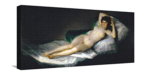 The Nude Maja, circa 1800 Stretched Canvas Print by Francisco de Goya - 29.5 x 14 in