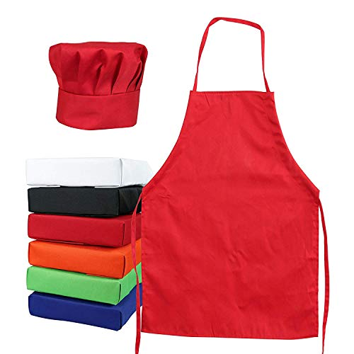 (Tessa's Kitchen Kids - Child's Chef Hat Apron Set, Kid's Size, Children's Kitchen Cooking and Baking Wear Kit for Those Chefs in Training (M 6-12 Year, Red))