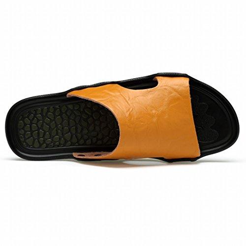 SAMSAY Menss Genuine Leather Outdoor Massage Slide Sandals Beach Shoes Flip Flops Model-6022 Yellow 0vPVy5QJQ