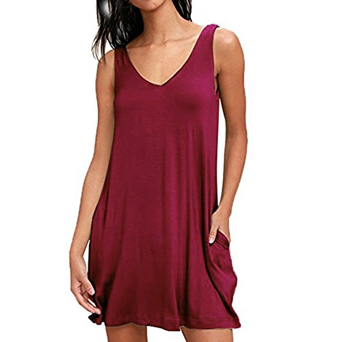 HGWXX7 Women's Summer Sexy Solid V-Neck Sleeveless Casual Mini Dress with Pocket (XL, Wine Red) from HGWXX7