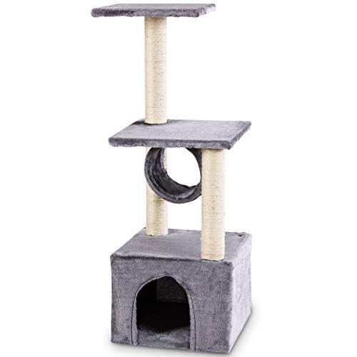 Tangkula Cat Tree Triple Platforms Cat Tower Furniture with Sisal-Covered Scratching Post Pet Climbing Condo (Grey)