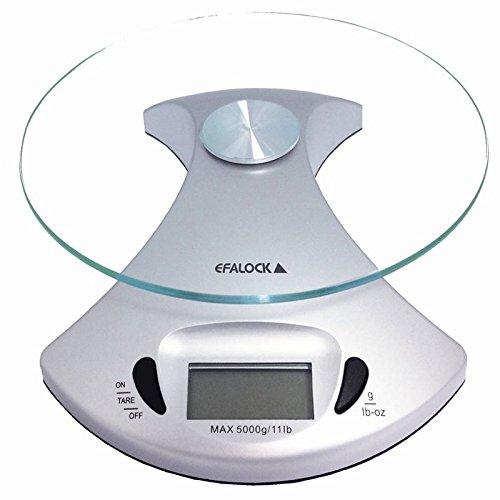 Efalock 5751826101, Bilancia con ripiano in vetro Salon, Argento (silber)
