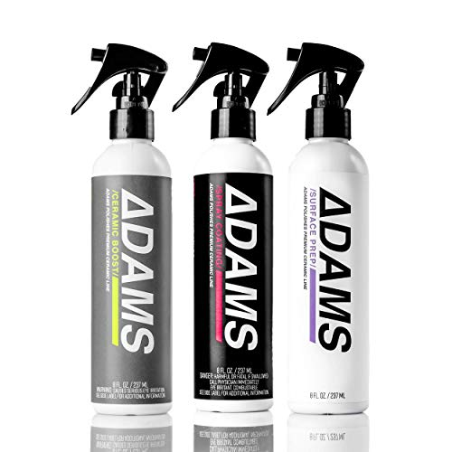 Adam's Ceramic Spray Coating 8oz - A True Nano Ceramic Protection for Car, Boat & Motorcycle Paint - Top Coat Polish Sealant After Clay Bar, Polishing & Detail Car Wash (Three Bottle Kit)